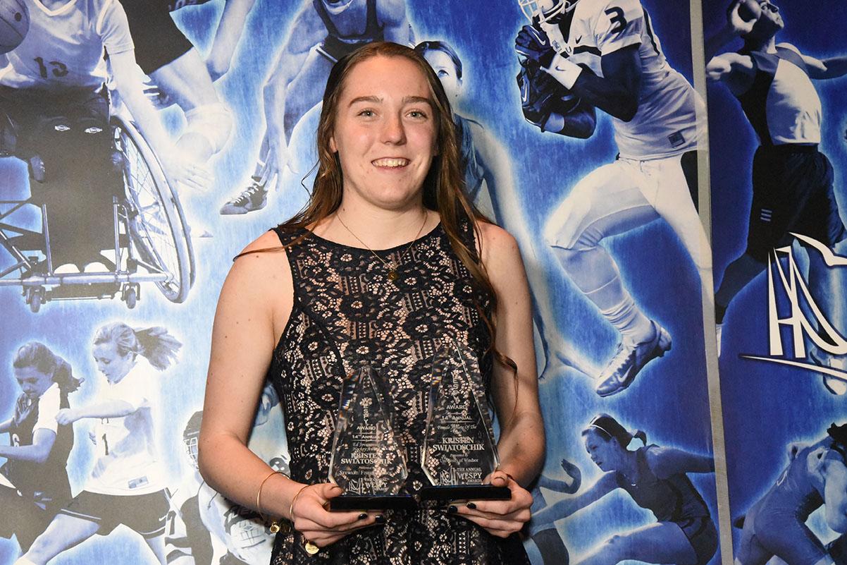 Kristen Swiatoschik takes two awards from the 2014 WESPY awards
